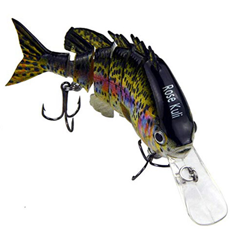 ROSE KULI Fishing Bass Lures Multi Jointed Topwater Life-Like Trout Swimbait Hard CrankBaits