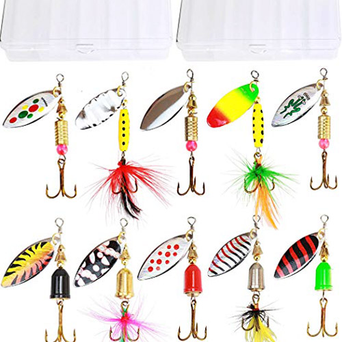 Tbuymax 10pcs high-quality Holographic Spinner Lure kit