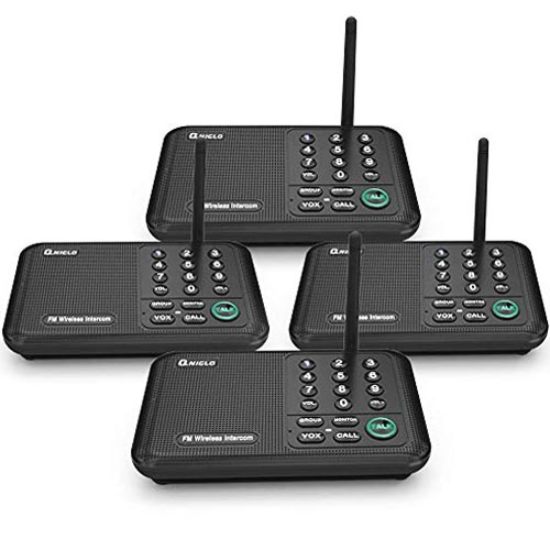Qniglo Wireless Intercom System 1/2 Mile Long Range FM 10 Channel