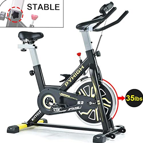 PYHIGH Indoor Cycling Bike Belt Drive Stationary Bicycle Exercise Bikes